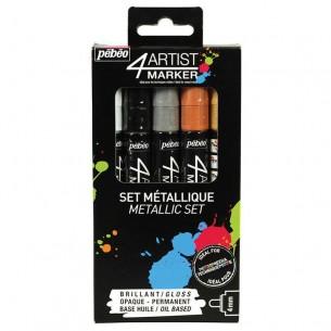 4Artist Marker Metallic Set of 5 (4mm Nibs)