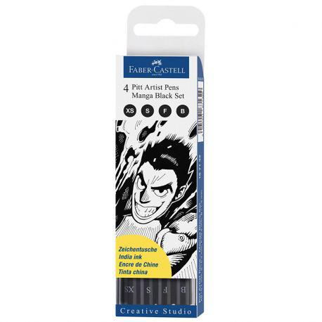 Pitt Artist Pen Manga Black Set of 4