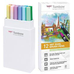 ABT Dual Brush Pen Set of 12 Pastel Colours