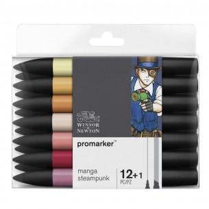 ProMarker Manga Steampunk Set (12 Markers + Blender)