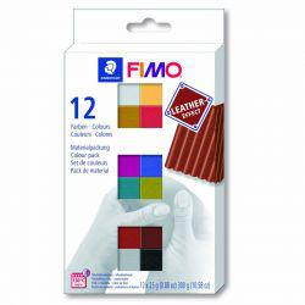 Fimo Leather Effect Set (12 Half Blocks)