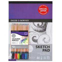 Simply A4 Pad & 12 Colouring Pencil Set