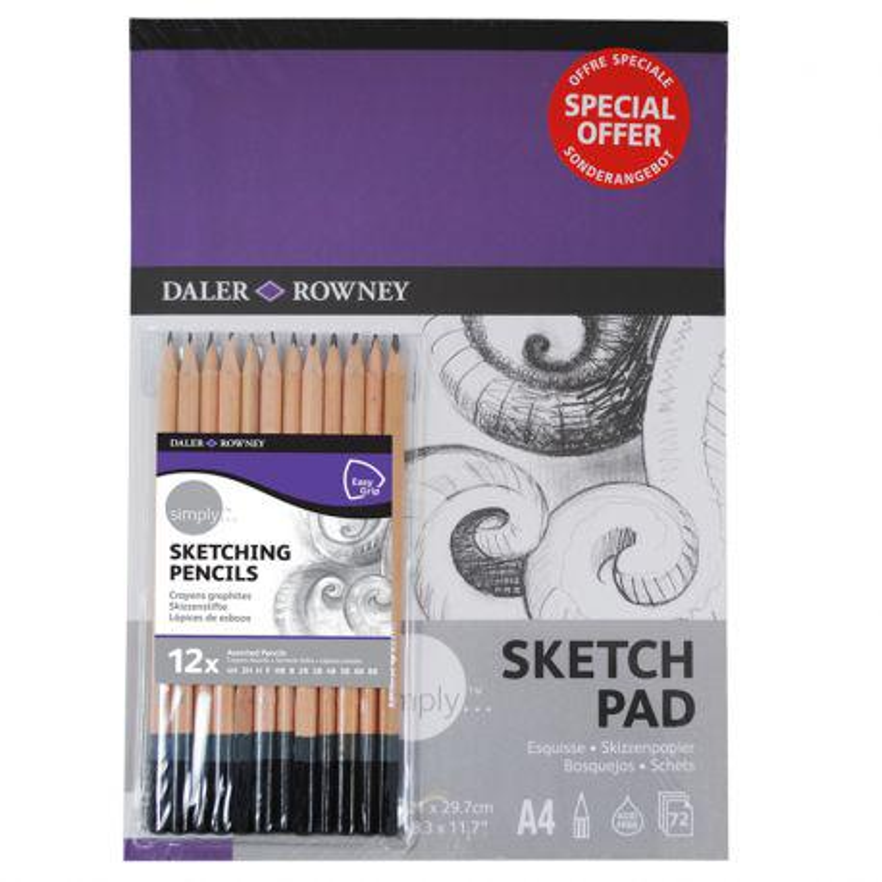 Simply A4 Pad & 12 Colouring Pencil Set