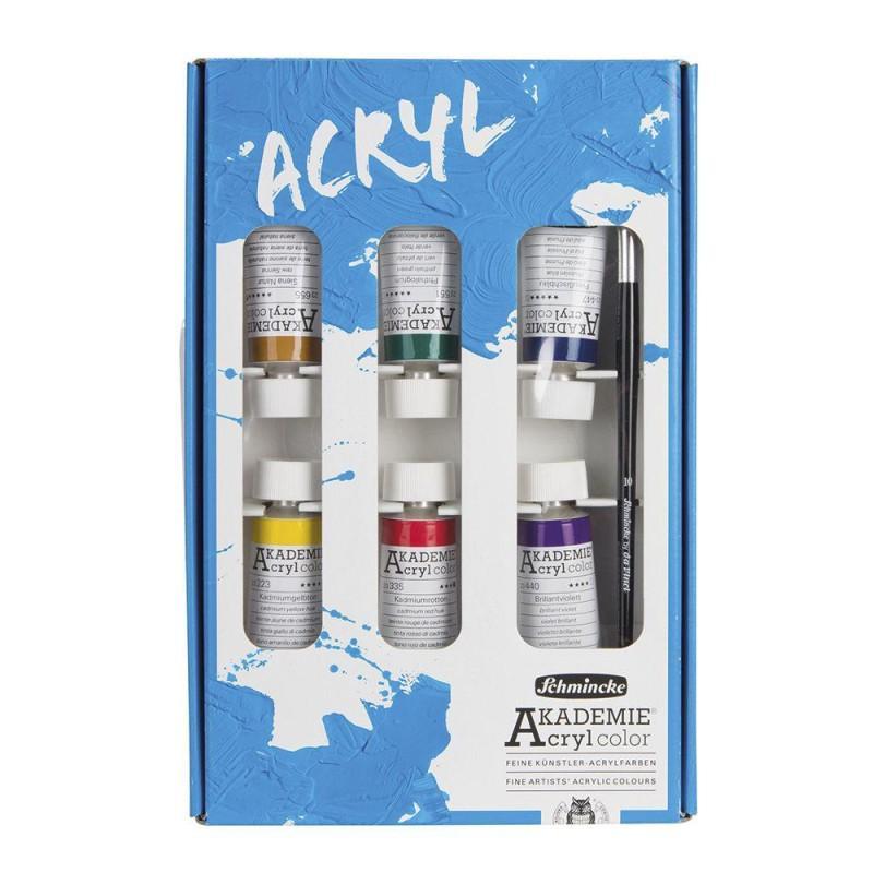 Akademie Acrylic Set of 6 (Plus Brush)