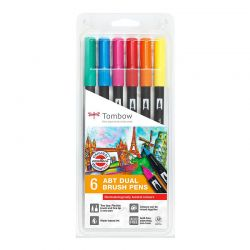 ABT Dual Brush Pen Wallet of 6 Pastel Colours