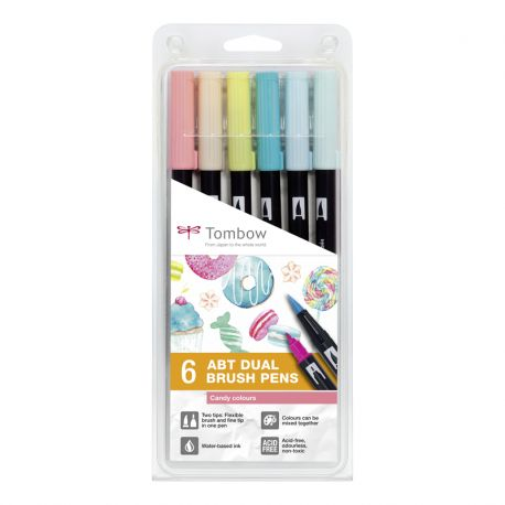 ABT Dual Brush Pen Wallet of 6 Candy Colours
