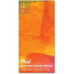 """Fluid Cold Pressed Watercolour Pad: 4 x 8"""" (300gsm)"""