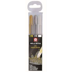 Gelly Roll Pen Set of 3: Gold, Silver & White
