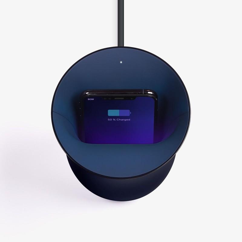 Lexon Oblio Wireless Charging Station With Built-In UV Sanitizer: Dark Blue