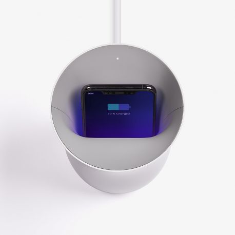 Lexon Oblio Wireless Charging Station With Built-In UV Sanitizer: Dark Blue