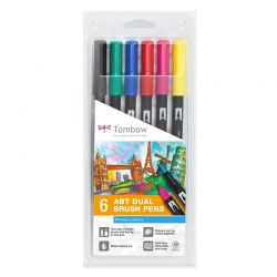 ABT Dual Brush Pen Set of 6 Primary Colours