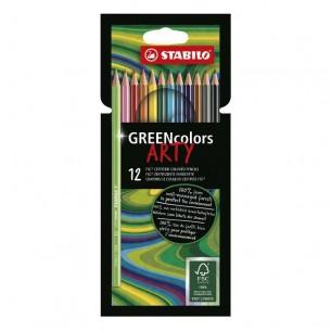GREENcolors Arty Pencil Wallet of 12