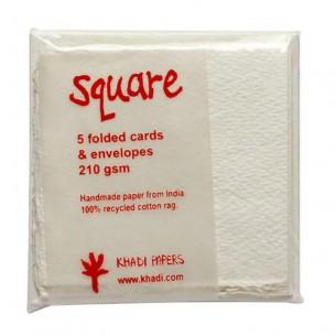 White Rag Square Envelope & Card Pack (7 x 7cm)