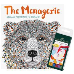 The Menagerie Adult Colouring Book + 6 Faber-Castell Pitt Artist Pens