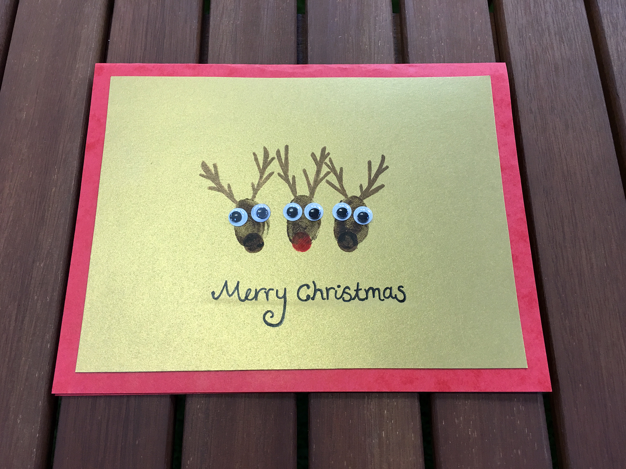 Handmade Christmas Card Fingerprint Reindeer