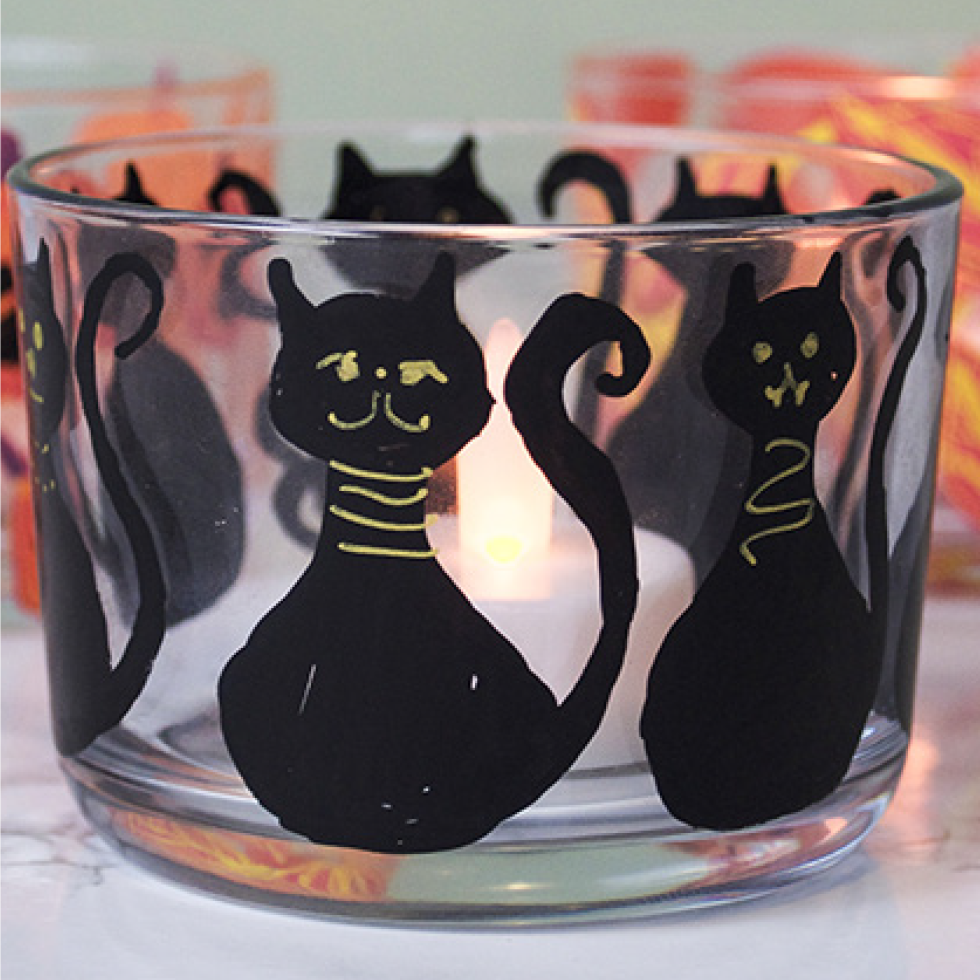Witch's Cat Tea Light Holder